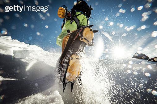 closeup shot of a climber's crampons. - gettyimageskorea