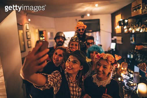 Group selfie on a Halloween party - gettyimageskorea