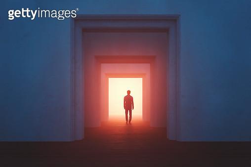 Old rooms with sleepwalker walking into mysterious passage - gettyimageskorea
