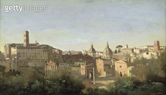 <b>Title</b> : The Forum seen from the Farnese Gardens, Rome, 1826 (oil on canvas)<br><b>Medium</b> : oil on canvas<br><b>Location</b> : Louvre, Paris, France<br> - gettyimageskorea