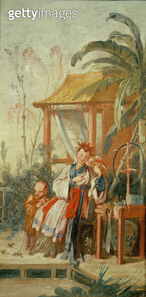 <b>Title</b> : A Chinese Garden, study for a tapestry cartoon, c.1742 (oil on canvas)<br><b>Medium</b> : <br><b>Location</b> : Musee des Beaux-Arts et d'Archeologie, Besancon, France<br> - gettyimageskorea