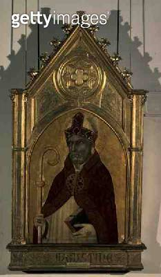 <b>Title</b> : Saint Augustine, 1320s (egg tempera and gold on panel)<br><b>Medium</b> : egg tempera and gold on panel<br><b>Location</b> : Pushkin Museum, Moscow, Russia<br> - gettyimageskorea