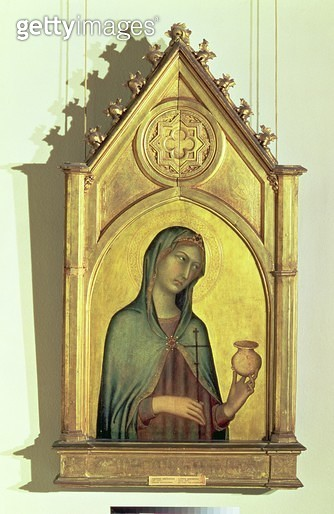 <b>Title</b> : Mary Magdalen, c.1320 (egg tempera and gold on panel)<br><b>Medium</b> : egg tempera and gold leaf on canvas<br><b>Location</b> : Pushkin Museum, Moscow, Russia<br> - gettyimageskorea