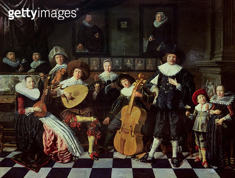 <b>Title</b> : Family Making Music (oil on panel)<br><b>Medium</b> : oil on panel<br><b>Location</b> : On loan to the Frans Hals Museum, Haarlem, The Netherlands<br> - gettyimageskorea