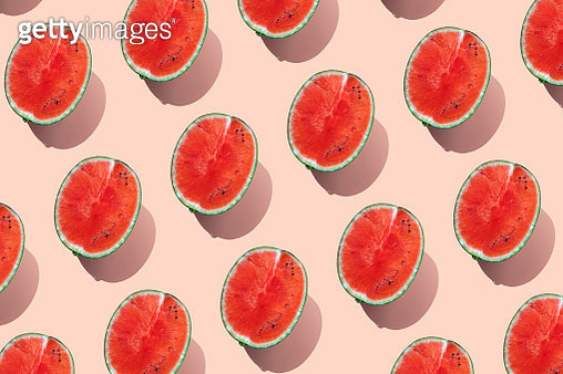 Repeated watermelon on pink background - gettyimageskorea