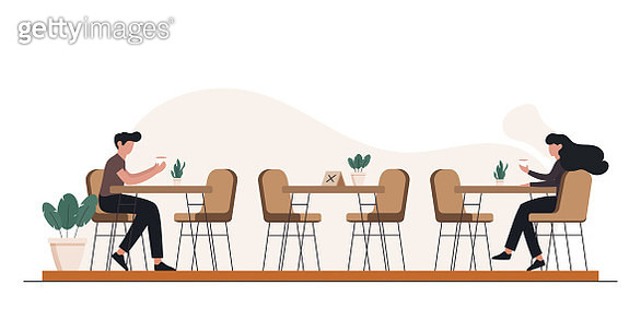 New Normal Concept Restaurant, Food and Drink Related Vector Illustration - gettyimageskorea