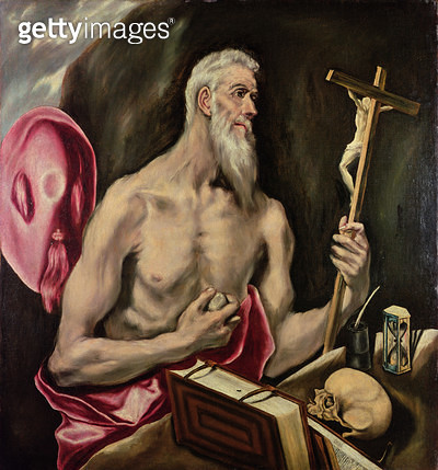<b>Title</b> : St. Jerome (oil on canvas)<br><b>Medium</b> : oil on canvas<br><b>Location</b> : Prado, Madrid, Spain<br> - gettyimageskorea