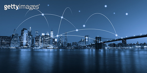 Computer network connection modern city future internet technology - gettyimageskorea