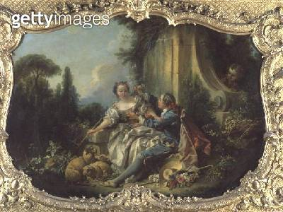 <b>Title</b> : The Gallant Shepherd (oil on canvas)<br><b>Medium</b> : oil on canvas<br><b>Location</b> : Centre Historique des Archives Nationales, Paris, France<br> - gettyimageskorea