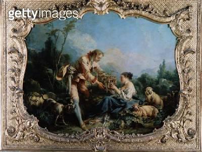 <b>Title</b> : The Obliging Shepherd (oil on canvas)<br><b>Medium</b> : oil on canvas<br><b>Location</b> : Centre Historique des Archives Nationales, Paris, France<br> - gettyimageskorea