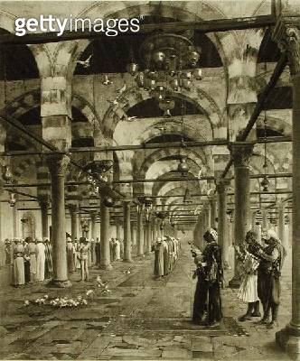 <b>Title</b> : Public Prayer in the Mosque of Amron, from 'A Collection of Works of Jean-Leon Gerome in 100 Photogravures', 1881 (photogravure)<br><b>Medium</b> : photogravure<br><b>Location</b> : Dahesh Museum of Art, New York, USA<br> - gettyimageskorea