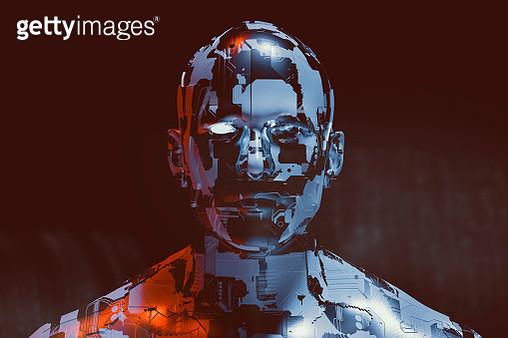 Spooky futuristic male cyborg. - gettyimageskorea