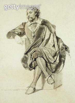 <b>Title</b> : Study for the Portrait of Peter Paul Rubens (1577-1640) (pencil & charcoal on paper)<br><b>Medium</b> : pencil and charcoal on paper<br><b>Location</b> : Dahesh Museum of Art, New York, USA<br> - gettyimageskorea