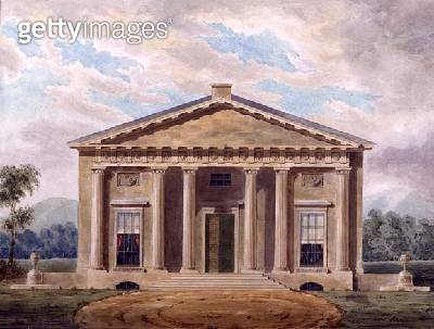 <b>Title</b> : Design for a Neo-Classical Villa, 1837 (w/c on paper)<br><b>Medium</b> : watercolour on paper<br><b>Location</b> : Private Collection<br> - gettyimageskorea