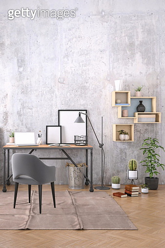 Modern interior with office desk background template - gettyimageskorea