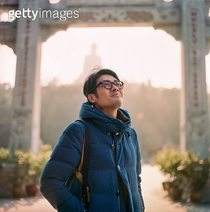 Film image of Chinese man at Ngong Ping in Lantau island, Hong Kong - gettyimageskorea