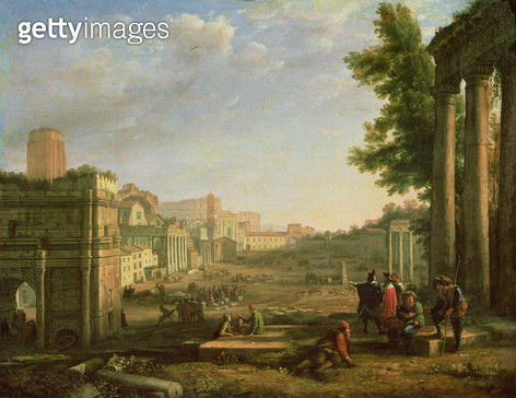<b>Title</b> : View of the Campo Vaccino, Rome<br><b>Medium</b> : oil on canvas<br><b>Location</b> : Louvre, Paris, France<br> - gettyimageskorea