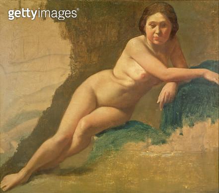 <b>Title</b> : Nude Study, c.1858-60 (oil on canvas)<br><b>Medium</b> : oil on canvas<br><b>Location</b> : Van der Heydt Museum, Wuppertal, Germany<br> - gettyimageskorea
