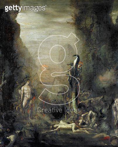 <b>Title</b> : Hercules and the Lernaean Hydra, after Gustave Moreau, c.1876 (oil on canvas)<br><b>Medium</b> : oil on canvas<br><b>Location</b> : Musee Gustave Moreau, Paris, France<br> - gettyimageskorea