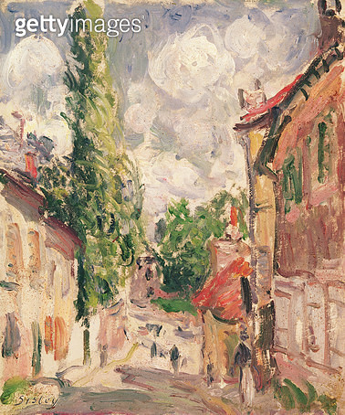 <b>Title</b> : Road in a Village (oil on canvas)<br><b>Medium</b> : <br><b>Location</b> : Musee Sainte-Croix, Poitiers, France<br> - gettyimageskorea