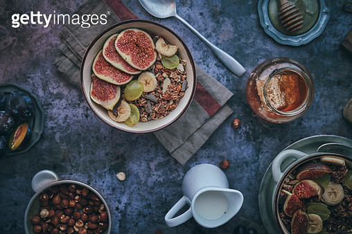 Healthy Muesli with Fresh Figs, Banana and Grapes for Breakfast - gettyimageskorea