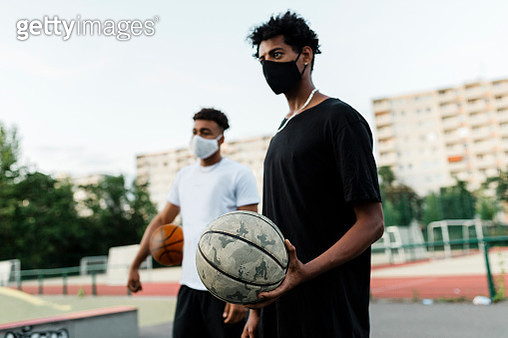 Two Basketball players wearing facemask - gettyimageskorea