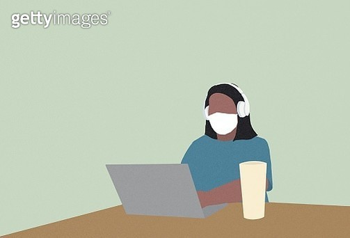 business women, work at home, face mask, wearing face mask, laptop, smart phone, head phone, head set, working, work, remote work, stay at home, covid-19, corona virus - gettyimageskorea