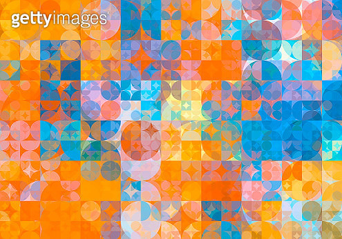 Abstract blue and pink low poly triangle shaped background - gettyimageskorea