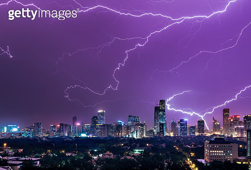 Thunder storm over Beijing Skyscrapers during a summer night. This is a single exposure (not stack). - gettyimageskorea