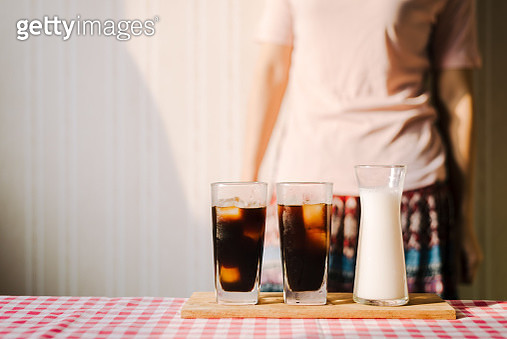 Midsection Of Woman Standing By Drinks - gettyimageskorea