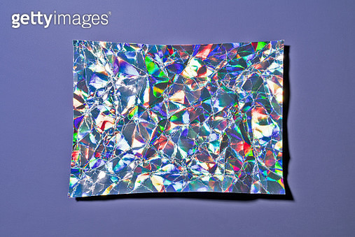 Crumpled Holographic Foil on Purple - gettyimageskorea