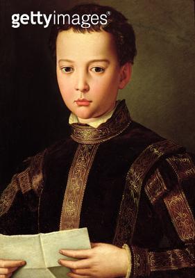 <b>Title</b> : Portrait of Francesco I de' Medici (1541-87) as a Young Boy, 1551 (tempera on panel)Additional Infoson of Cosimo and Eleonora di<br><b>Medium</b> : tempera on panel<br><b>Location</b> : Galleria degli Uffizi, Florence, Italy<br> - gettyimageskorea