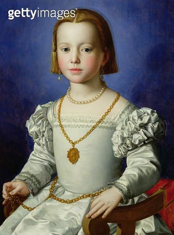 <b>Title</b> : Portrait of Isabella de' Medici (1542-76) c.1542 (tempera on panel)<br><b>Medium</b> : tempera on panel<br><b>Location</b> : Galleria degli Uffizi, Florence, Italy<br> - gettyimageskorea