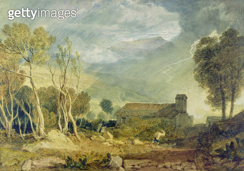 <b>Title</b> : Patterdale Old Church, c.1810-15 (w/c over graphite on paper)<br><b>Medium</b> : watercolour over graphite on paper<br><b>Location</b> : Yale Center for British Art, Paul Mellon Collection, USA<br> - gettyimageskorea