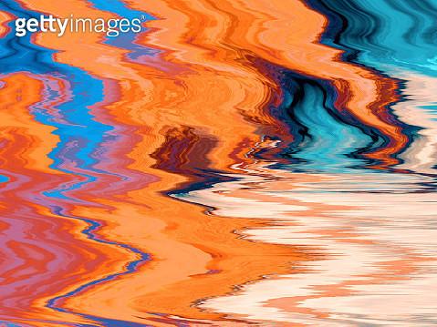 Abstract Digital Orange Blue Glitch Art Distorted Multicolored Background - gettyimageskorea