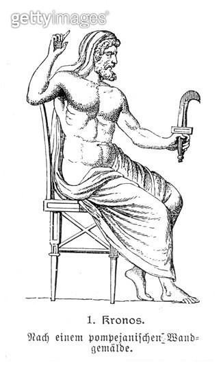 GREEK MYTHOLOGY: CRONUS. /nLine engraving, German, 19th century, after a Pompeiian fresco. - gettyimageskorea