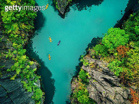 Aerial View of Beautiful Lagoon with Kayaks - gettyimageskorea