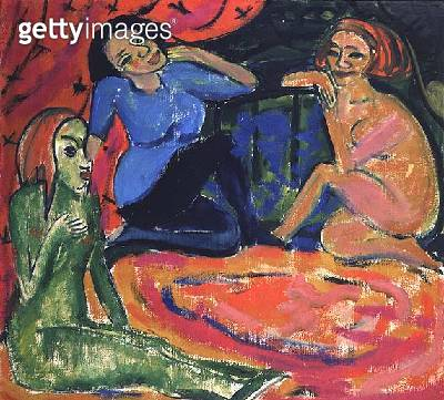 <b>Title</b> : Unterhaltung, 1910<br><b>Medium</b> : oil on canvas<br><b>Location</b> : Private Collection<br> - gettyimageskorea