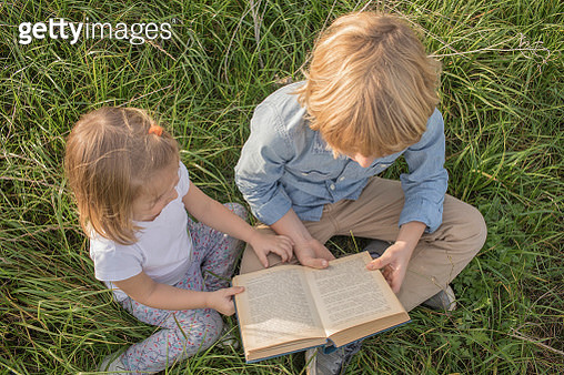 Brother and his little sister sitting on a meadow reading a book, top view - gettyimageskorea