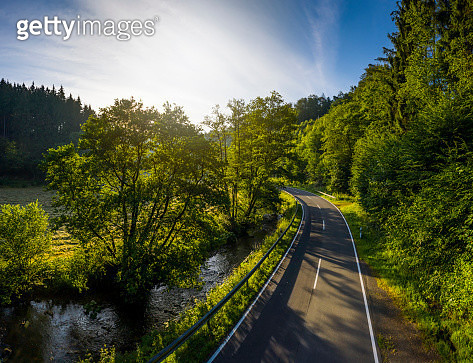 Country road in Sayntal Valley (sunrise) - Westerwald region, Rhineland-Palatinate, Germany - gettyimageskorea