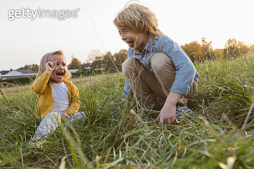 Brother and his little sister screaming on a meadow - gettyimageskorea