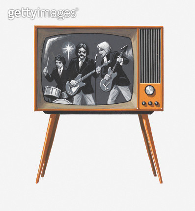 Illustration of 1960s pop band on black and white television - gettyimageskorea