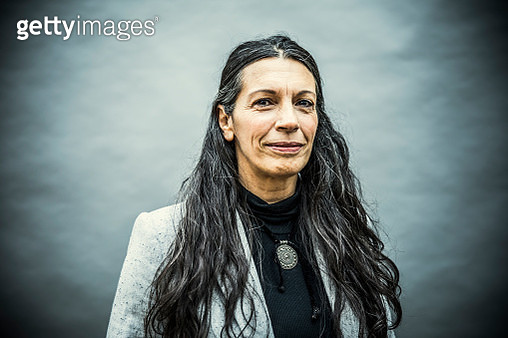 Portrait of senior woman with long hair - gettyimageskorea