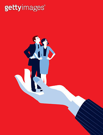 Mentoring!. A stylized vector cartoon reminiscent of an old screen print poster of a giant businessman's hand holding a tiny standing businessman and woman. Concept to show relationship issues, recruitment, in hand, control, mentoring or management. - gettyimageskorea