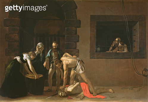 <b>Title</b> : The Decapitation of St. John the Baptist, 1608 (oil on canvas)<br><b>Medium</b> : <br><b>Location</b> : Co-Cathedral of St. John, Valletta, Malta<br> - gettyimageskorea