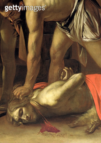<b>Title</b> : The Decapitation of St. John the Baptist, 1608 (oil on canvas) (detail of 127654)<br><b>Medium</b> : <br><b>Location</b> : Co-Cathedral of St. John, Valletta, Malta<br> - gettyimageskorea