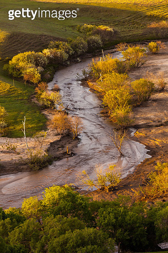 Flowing river in autumn landscape, Chifeng, Inner Mongolia Autonomous Region, China - gettyimageskorea