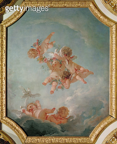 <b>Title</b> : Spring, from a series of the Four Seasons in the Salle du Conseil (oil on canvas)<br><b>Medium</b> : oil on canvas<br><b>Location</b> : Chateau de Fontainebleau, Seine-et-Marne, France<br> - gettyimageskorea