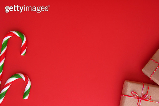 Close-Up Of Christmas Decoration Against Red Background - gettyimageskorea