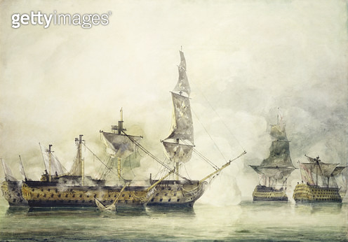 H.M.S. Victory at the Battle of Trafalgar/ 1805/ (w/c) - gettyimageskorea